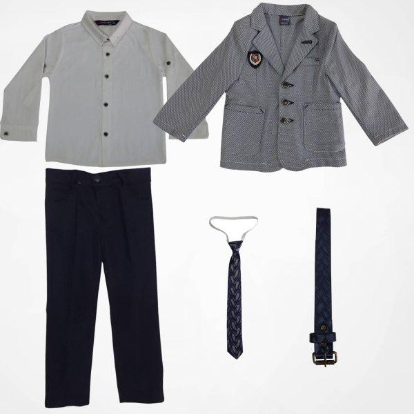 ست کت شلوار و پیراهن پسرانه طوسی MIXBABY2