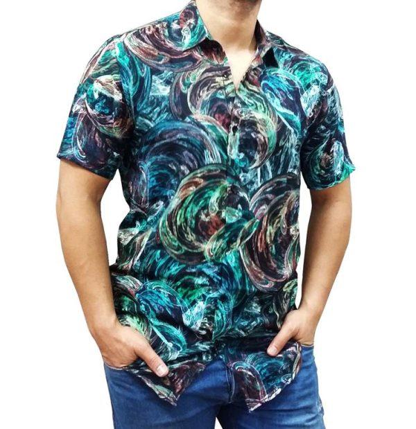 پیراهن هاوایی مردانه طرح آبرنگی