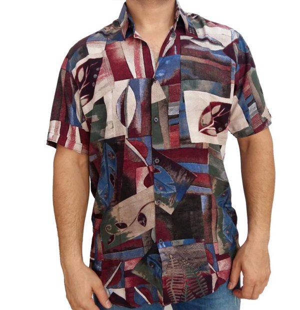 پیراهن هاوایی مردانه طرح برگ
