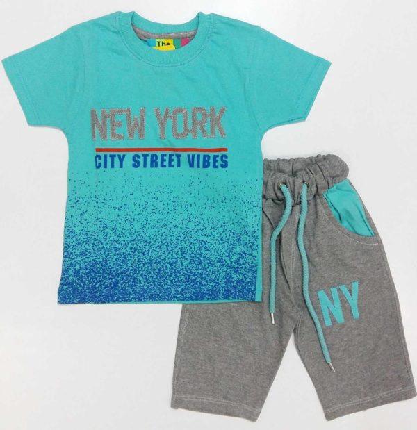 تیشرت و شلوارک پسرانه NEW YORK آبی