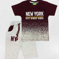 تیشرت و شلوارک پسرانه NEW YORK زرشکی