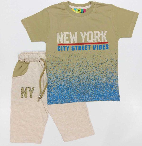تیشرت و شلوارک پسرانه NEW YORK سبز سدری