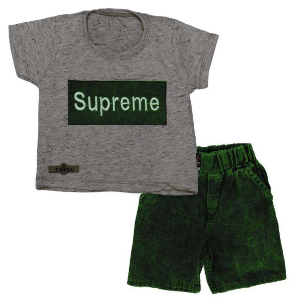 تی شرت شلوارک پسرانه سوپرمی سبز