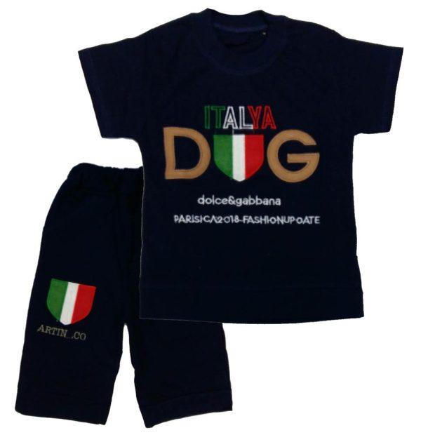 تی شرت و شلوارک پسرانه ایتالیا سرمه ای میلاد