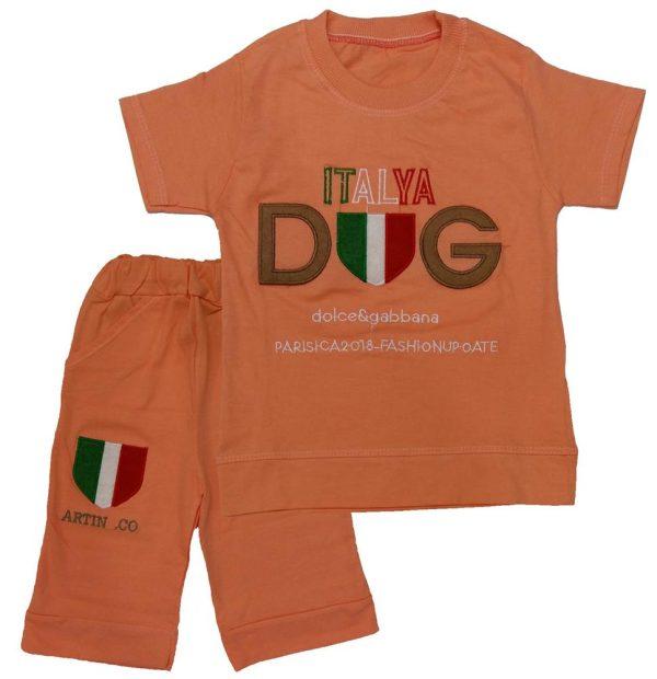 تی شرت و شلوارک پسرانه ایتالیا نارنجی میلاد