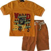 تی شرت و شلوارک پسرانه بویز زرد بادی