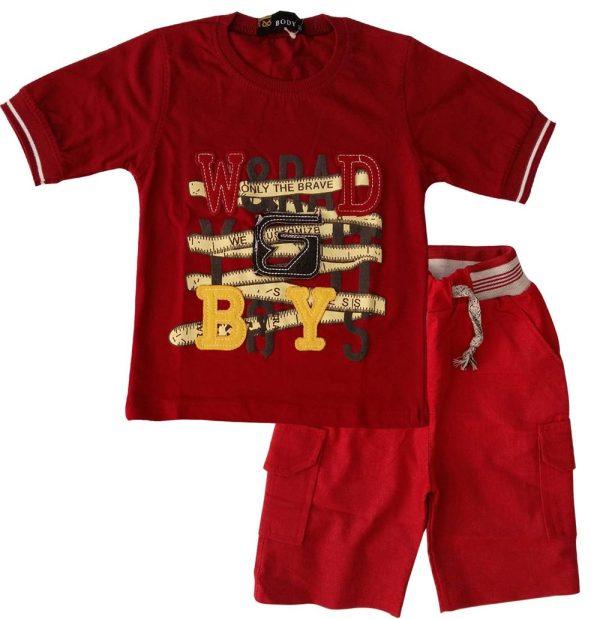 تی شرت و شلوارک پسرانه بویز زرشکی بادی