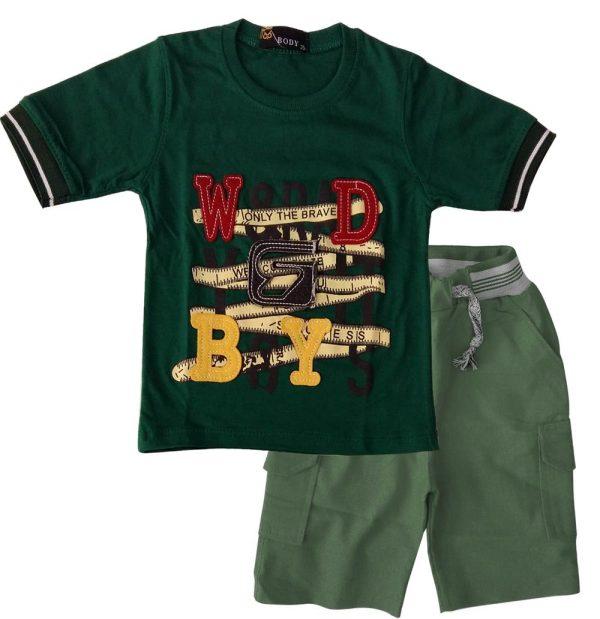 تی شرت و شلوارک پسرانه بویز سبز بادی