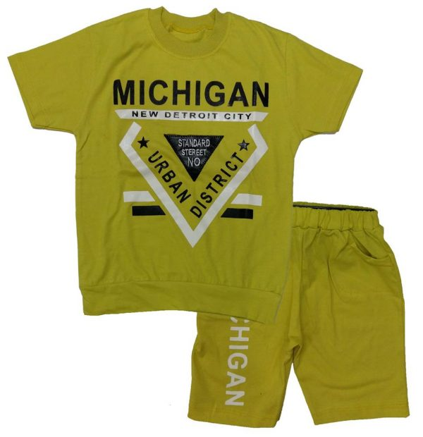 تی شرت و شلوارک پسرانه دلتا زرد