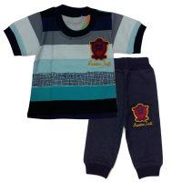 تی شرت و شلوارک پسرانه راه راه درشت آبی طناز