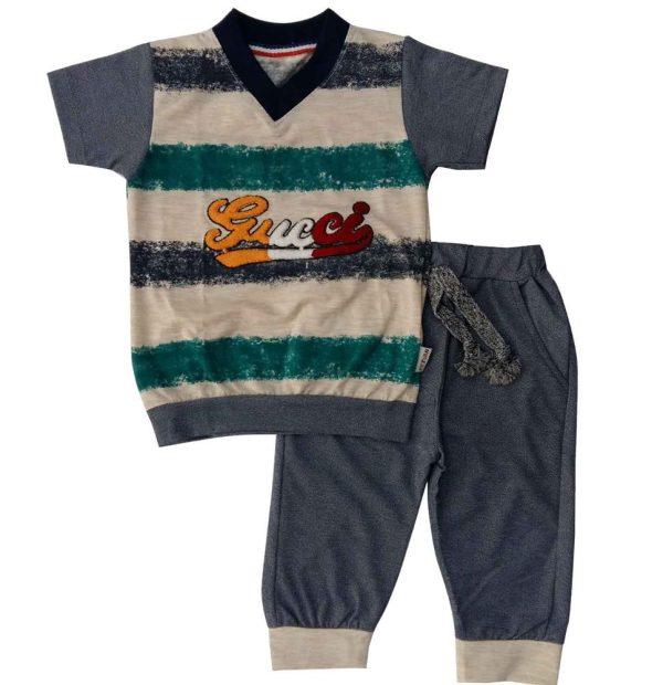 تی شرت و شلوارک پسرانه راه راه رضوان آبی