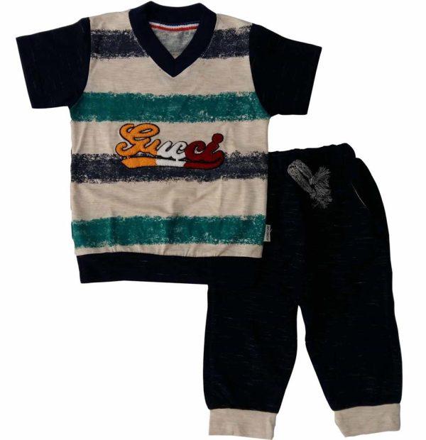تی شرت و شلوارک پسرانه راه راه رضوان سرمه ای