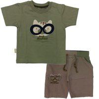 تی شرت و شلوارک پسرانه گربه عینکی سبز مهدیس