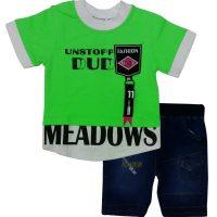 تی شرت و شلوارک پسرانه DUD سبز تاپ لند