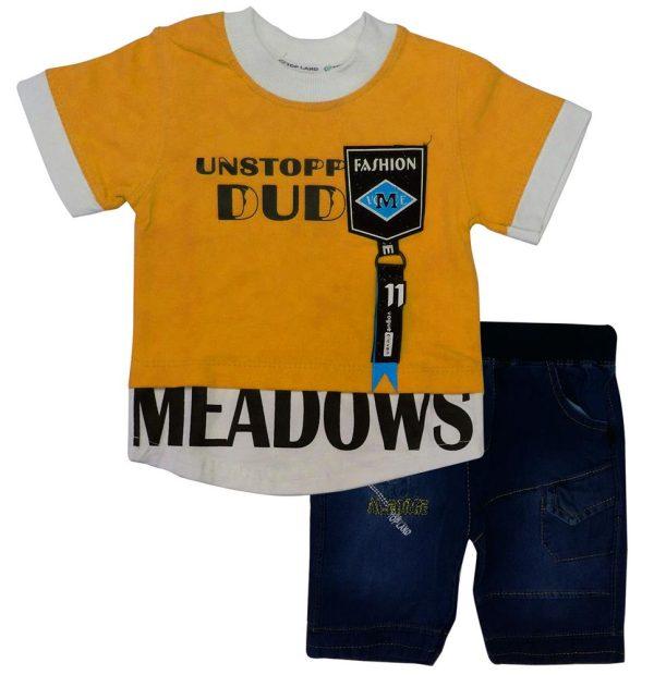 تی شرت و شلوارک پسرانه DUD نارنجی تاپ لند