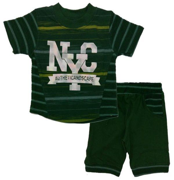 تی شرت و شلوارک پسرانه NYC سبز بیبی شیک
