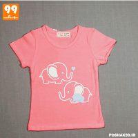 تیشرت دخترانه صورتی فیل