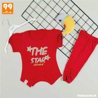 تیشرت شلوارک اسپرت دخترانه تیام STAR زرشکی