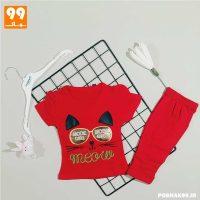 تیشرت شلوارک دخترانه گربه عینکی قرمز