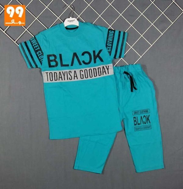 تیشرت شلوارک پسرانه BLACK باربد آبی
