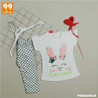 تی شرت ساپورت دخترانه تاپ لند خرگوش سفید