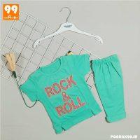 ست تیشرت شلوارک دخترانه ROCK سبز
