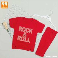 ست تیشرت شلوارک دخترانه ROCK قرمز