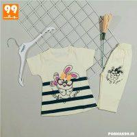 ست تی شرت ساپورت دخترانه پریا خرگوش لیمویی