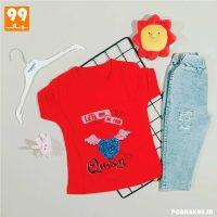 ست تی شرت شلوارک دخترانه قرمز