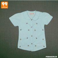 پیراهن دخترانه آبی پروانه پیشرو