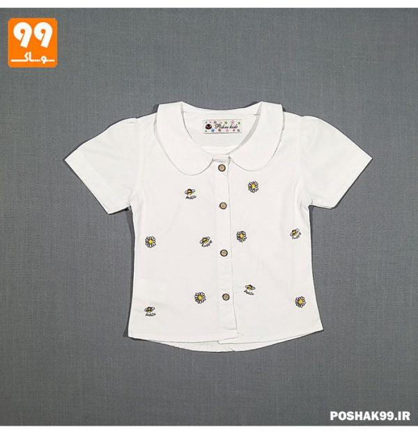پیراهن دخترانه سفید زنبور پیشرو