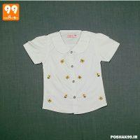 پیراهن دخترانه سفید پروانه پیشرو