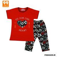 ست تیشرت شلوارک دخترانه قلب سوگل قرمز