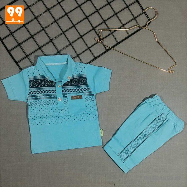 تیشرت شلوارک پسرانه طرح سنتی آبی
