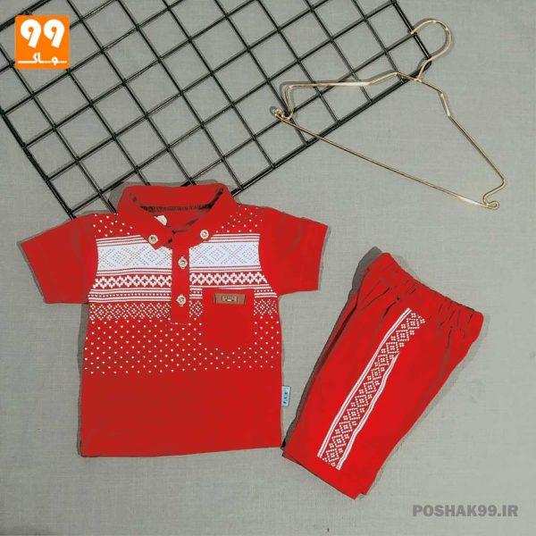 تیشرت شلوارک پسرانه طرح سنتی زرشکی