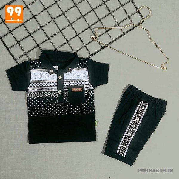 تیشرت شلوارک پسرانه طرح سنتی سرمه ای