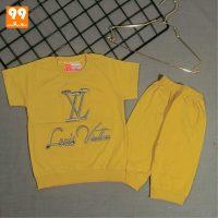 تیشرت شلوارک پسرانه LV زرد