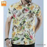 پیراهن هاوایی مردانه طرح ماشین