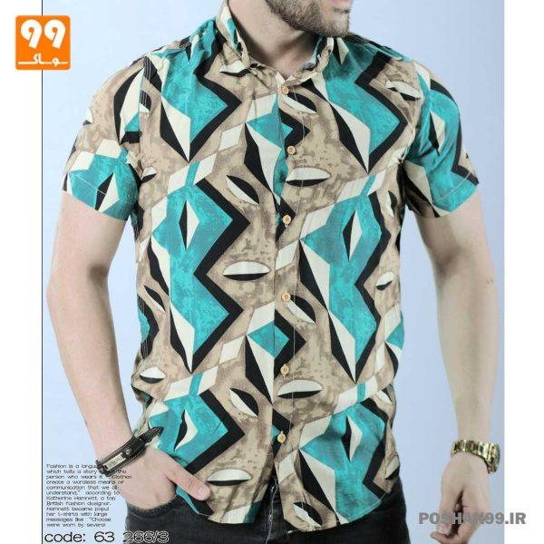 پیراهن هاوایی مردانه طرح هندسی