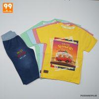 ست تیشرت شلوارک پسرانه طرح اتوبوس کد 5014