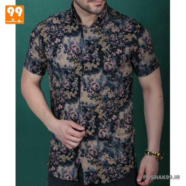پیراهن هاوایی مردانه طرح گل کد 2555