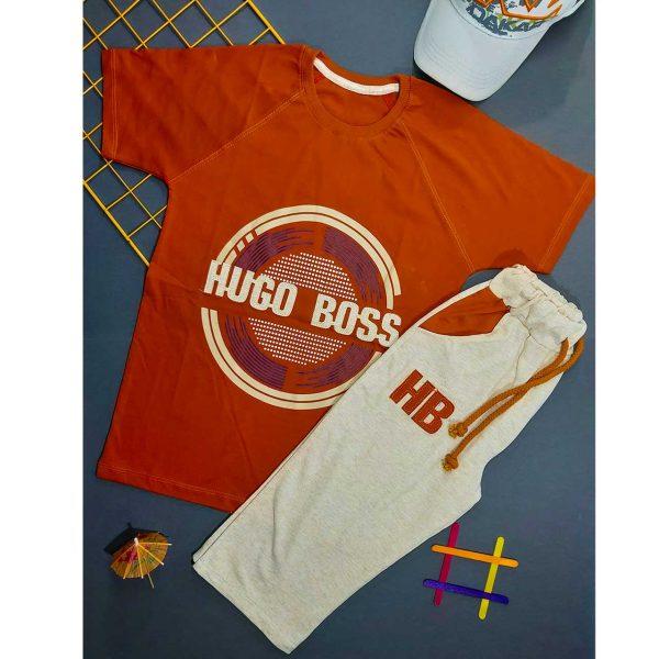 بلوز شلوارک پسرانه HUGO BOSS نارنجی کد 4785