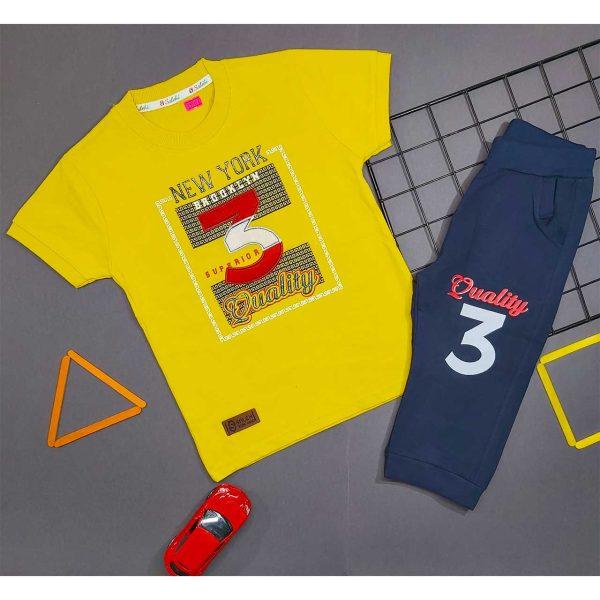 تیشرت و شلوارک پسرانه چاپ 3 زرد کد 5002