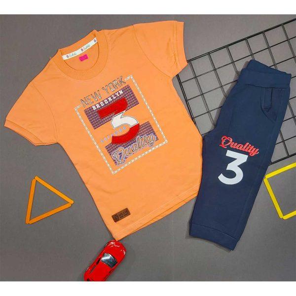 تیشرت و شلوارک پسرانه چاپ 3 نارنجی کد 5002