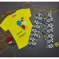 تیشرت شلوارک دخترانه طرح بادکنک لیمویی کد 5051