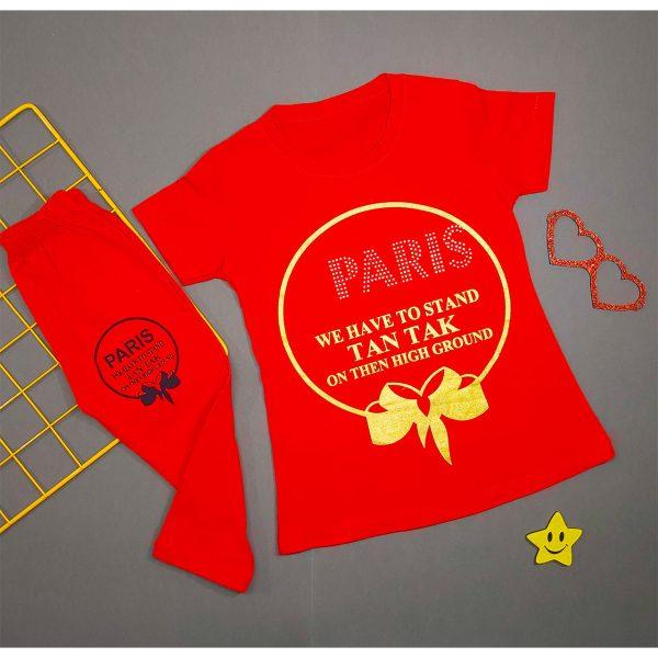 ست تیشرت و شلوارک دخترانه پاریس قرمز کد 5059