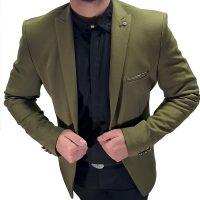 کت تک یقه مردانه سبز