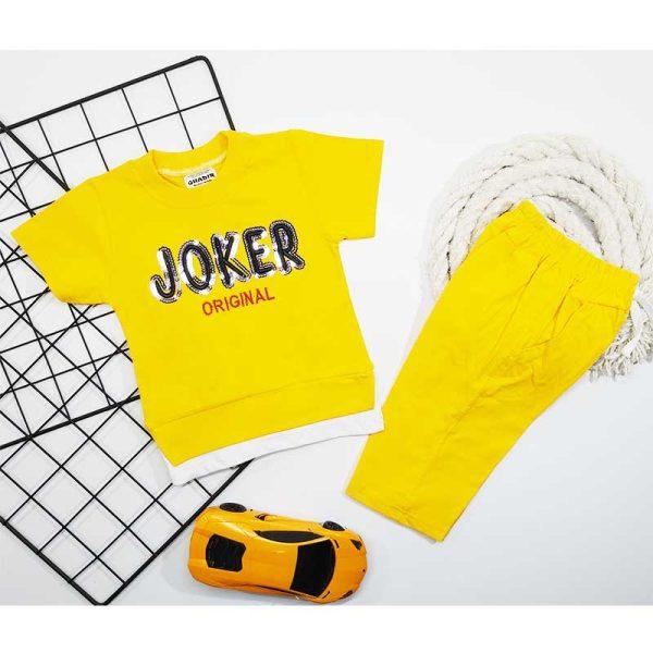 ست تیشرت شلوارک پسرانه JOKER زرد کد 5689