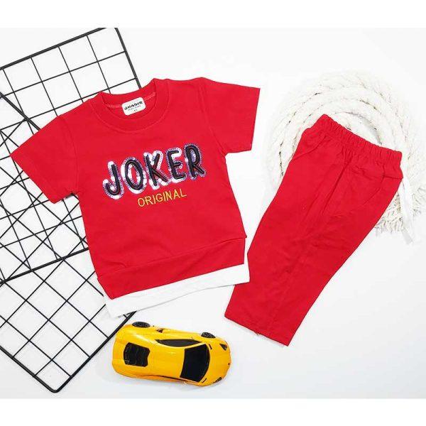 ست تیشرت شلوارک پسرانه JOKER قرمز کد 5689