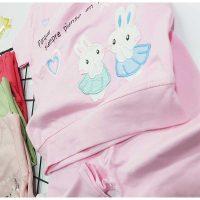 تیشرت شلوارک دخترانه طرح خرگوش زوم کد 5911